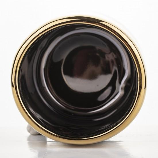 Keraminis vazonas, apvalus, juodas/auksinis, 7,5 x 6,5(A) cm
