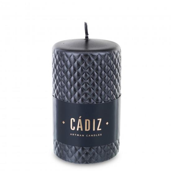 Žvakė, apvali, juodos spalvos, metalizuota, 7 x 12(A) cm