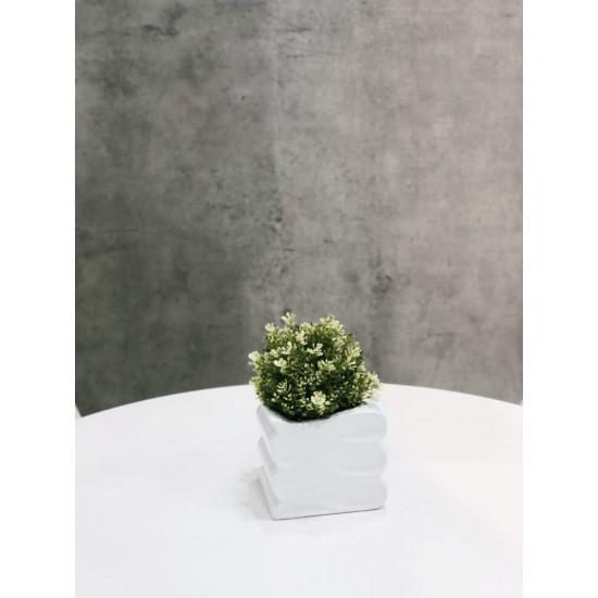 Keraminis vazonas BARCELONA, kvardatinis, baltas, 15 x 13(A) cm