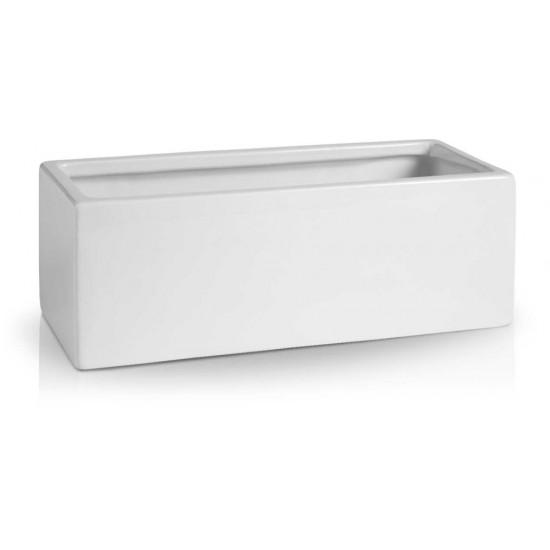 Keraminis vazonas BARCELONA, stačiakampis, baltas, 38x16 x 13(A) cm