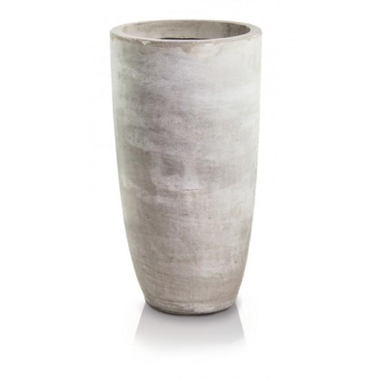 Keraminis vazonas ECOLITE, apvalus, smėlinis, 32 x 62(A) cm