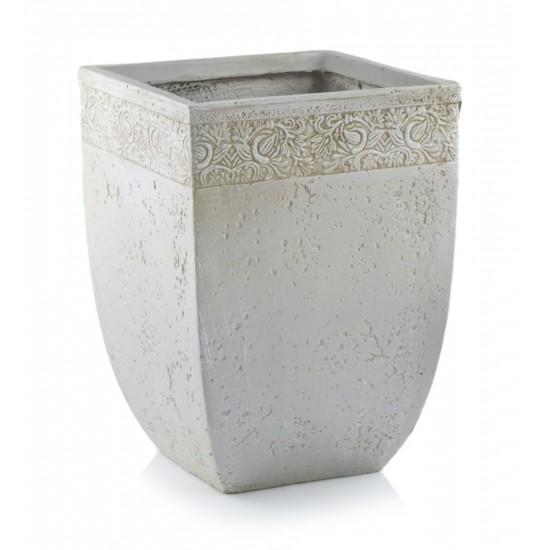 Keraminis vazonas ECOLITE, kvadratinis, pilkas, 30 x 40(A) cm