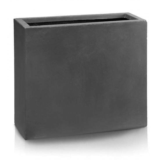 Keraminis vazonas ECOLITE, stačiakampis, tams.pilkas, 60 x 72(A) cm