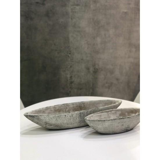 Keraminis vazonas ETNO, laivelis, pilkas, 38x11 x 10(A) cm
