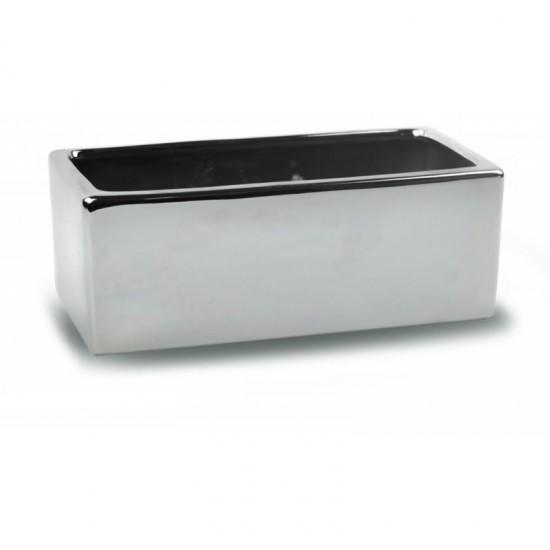 Keraminis vazonas MOON, stačiakampis, sidabrinis, 38x16 x 13(A) cm